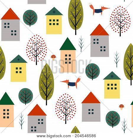 Cute houses, fox and autumn trees seamless pattern on white background. Scandinavian style nature illustration. Autumn landscape with animal design for textile, wallpaper, fabric.