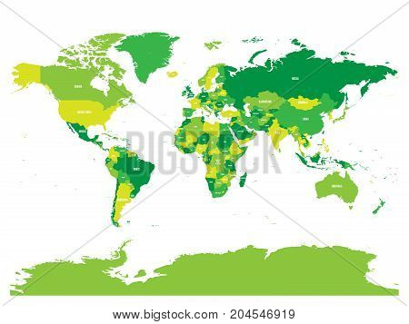 World map in four shades of green on white background. High detail political map with country names. Vector illustration.