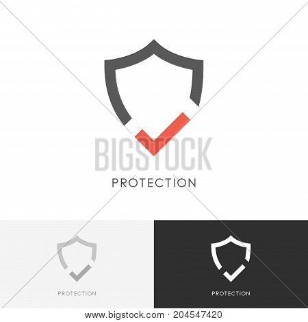 Safe protection logo - shield and red check mark or tick symbol. Defense, security and safety vector icon.