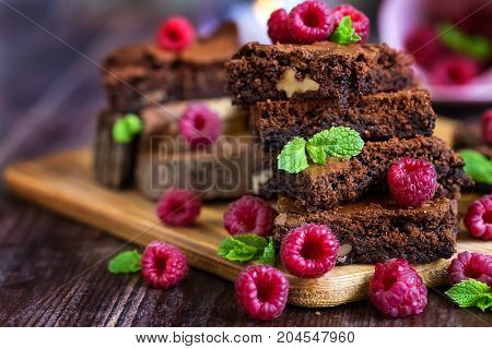 Brownie With Raspberry