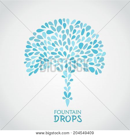 Small water drops forming a fountain on white background. Stock vector illustration of blue splash and flow.