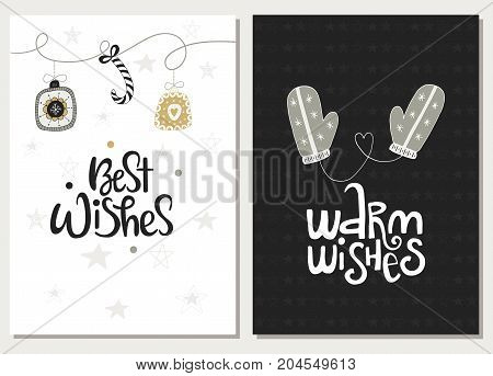 Christmas Hand Drawn Lettering Poctcards. Christmas Lettering Phrases And Quote. Cute New Year Cards