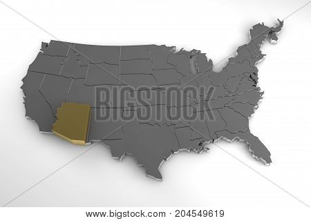 United states of America, 3d metallic map, whith arizona state highlighted. 3d render