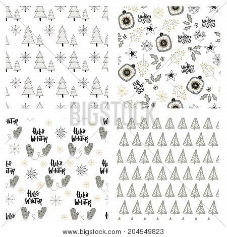 Cute Winter Hand Drawn Seamless Pattern Collection With Christmas Elements. New Year Vector Illustra