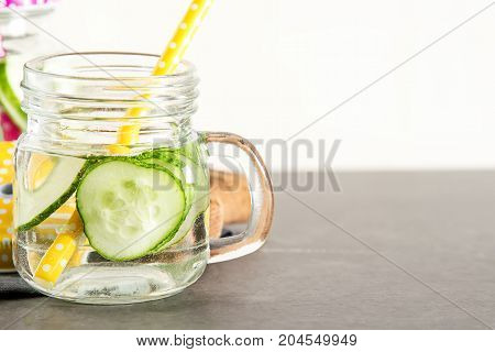 Refreshing Cucumber Cocktail, Lemonade, Detox Water In A Glasses