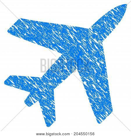 Grunge Airplane icon with grunge design and dust texture. Unclean vector blue airplane pictogram for rubber seal stamp imitations and watermarks. Draft sticker symbol.
