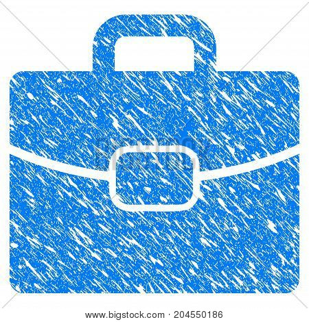 Grunge Briefcase icon with grunge design and unclean texture. Unclean vector blue briefcase pictogram for rubber seal stamp imitations and watermarks. Draft sign symbol.