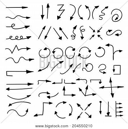 Hand Drawn Arrows Set Isolated On White.