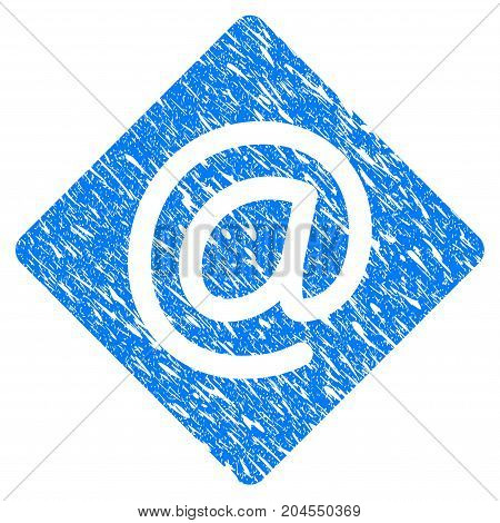 Grunge Email icon with grunge design and dirty texture. Unclean vector blue email pictogram for rubber seal stamp imitations and watermarks. Draft emblem symbol.
