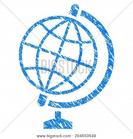 Grunge Global icon with grunge design and scratched texture. Unclean vector blue global pictogram for rubber seal stamp imitations and watermarks. Draft emblem symbol.