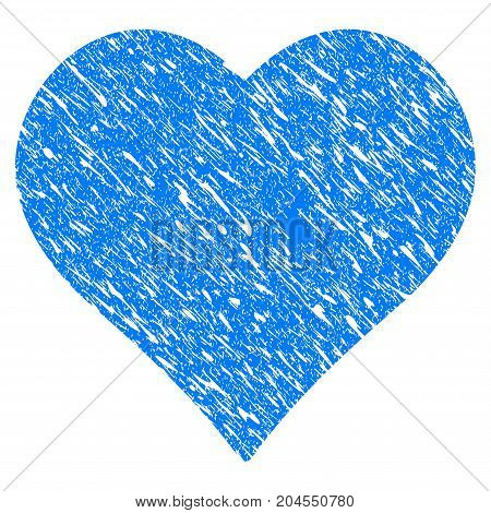 Grunge Love Heart icon with grunge design and dirty texture. Unclean vector blue love heart pictogram for rubber seal stamp imitations and watermarks. Draft emblem symbol.