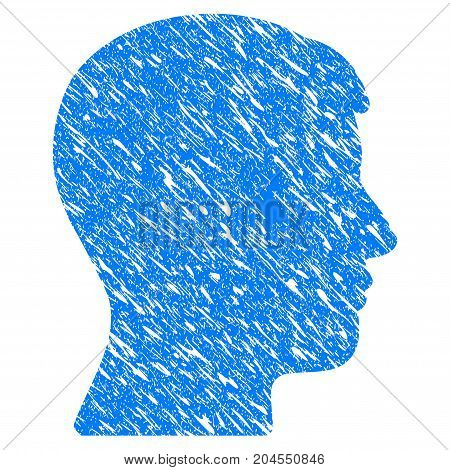 Grunge Man Head Profile icon with grunge design and dust texture. Unclean vector blue man head profile pictogram for rubber seal stamp imitations and watermarks. Draft sticker symbol.