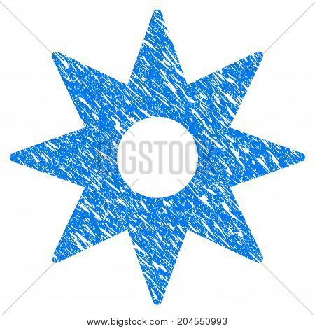 Grunge New Star Sticker icon with grunge design and scratched texture. Unclean vector blue new star sticker pictogram for rubber seal stamp imitations and watermarks. Draft sticker symbol.