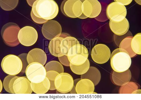Golden Retro Lights Texture With Bokeh Effect. Party, Celebration Or Christmas Background.