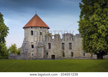 Medieval livonian castle ruins in Cesis. Latvia