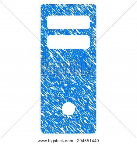 Grunge Server Mainframe icon with grunge design and dirty texture. Unclean vector blue server mainframe pictogram for rubber seal stamp imitations and watermarks. Draft sign symbol.