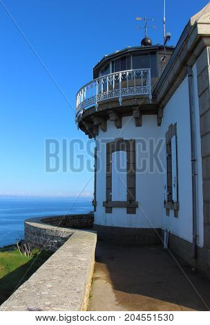 Outdoor of lighthouse of Millier Point on the coast in Beuzec Cap Sizun
