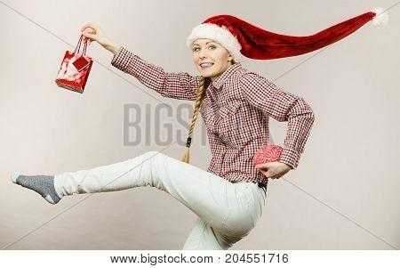 Christmas Woman Holding Shopping Bag And Brain