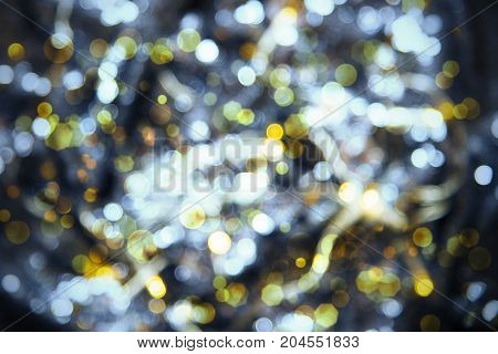 Glowing Blue Lights Texture With Bokeh Effect. Party, Celebration Or Christmas Background.