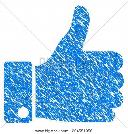 Grunge Thumb Up icon with grunge design and unclean texture. Unclean vector blue thumb up pictogram for rubber seal stamp imitations and watermarks. Draft sign symbol.
