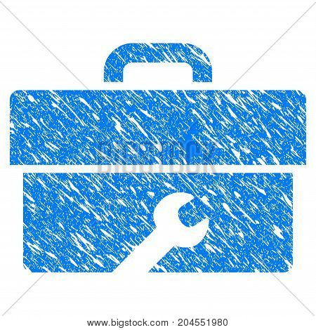 Grunge Toolbox icon with grunge design and dirty texture. Unclean vector blue toolbox pictogram for rubber seal stamp imitations and watermarks. Draft emblem symbol.