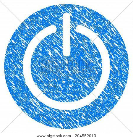 Grunge Turn Off Power icon with grunge design and dirty texture. Unclean vector blue turn off power pictogram for rubber seal stamp imitations and watermarks. Draft emblem symbol.