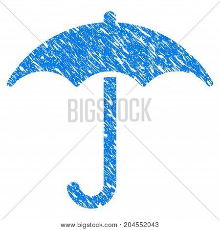 Grunge Umbrella icon with grunge design and dirty texture. Unclean vector blue umbrella pictogram for rubber seal stamp imitations and watermarks. Draft emblem symbol.