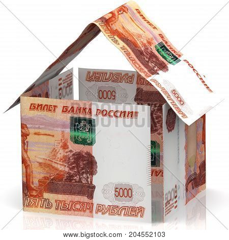 A house made of Russian rubles bills standing on white surface. Isolated. 3D Illustration
