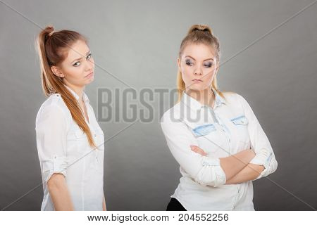 Woman Asking Apologize To Her Offended Friend After Quarrel.