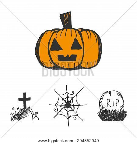 Set, collection of halloween vector doodles, hand drawn sketches isolated on white background.