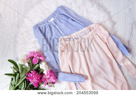 Blue And Pink Blouse With A Deflated Shoulders And A Bouquet Of Peonies. Fashionable Concept, White