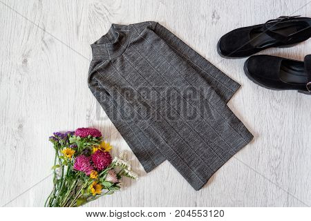 Gray Blouse. Shoes And Bouquet Of Wild Flowers. Fashionable Concept, Top View