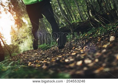 Сlose-up Of Athlete Running Fast In Autumn Forest. Intentionally Blurred Movements