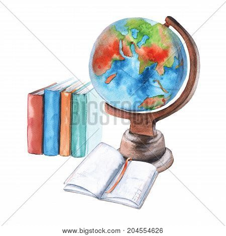 Globe, notebook and textbooks. Isolated on white background. Watercolor illustration