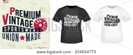 T-shirt print design. Vintage stamp and t shirt mockup. Printing and badge applique label t-shirts, jeans, casual wear. Vector illustration.