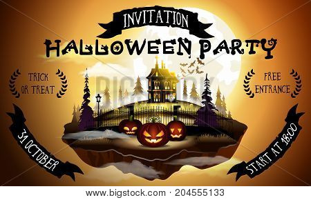 Halloween party poster illustration with pumpkins and house in warm moonlight