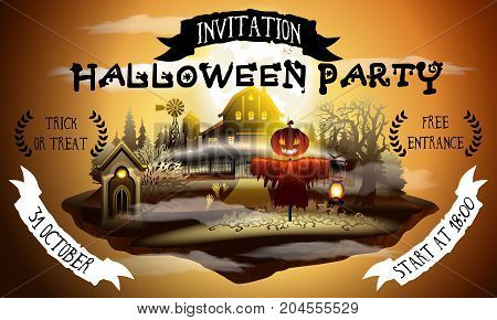Halloween party web invitation illustration with scarecrow and barn in scary moonlight