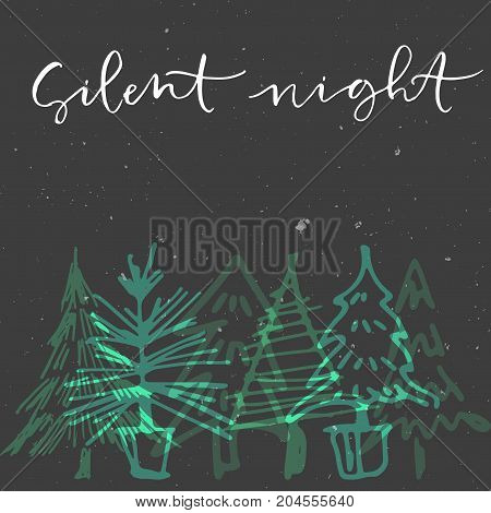 Abstract stars on dark background with Christmas tree and handwritten calligraphy phrase Silent Night. Greeting card and poster.
