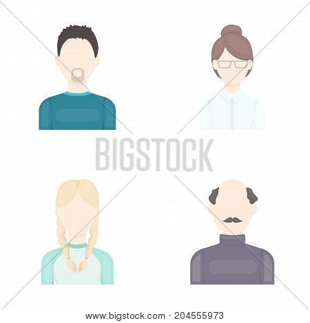 A man with a beard, a businesswoman, a pigtail girl, a bald man with a mustache.Avatar set collection icons in cartoon style vector symbol stock illustration .