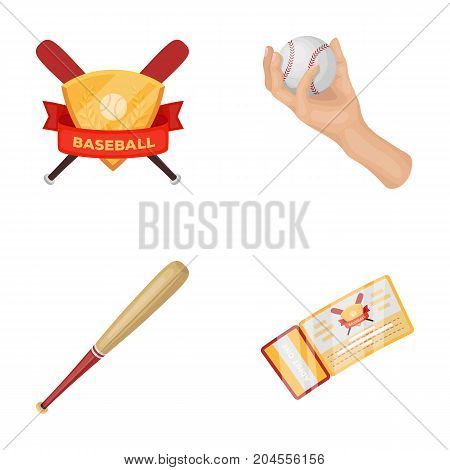 Club emblem, bat, ball in hand, ticket to match. Baseball set collection icons in cartoon style vector symbol stock illustration .