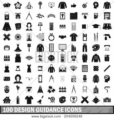 100 design guidance icons set in simple style for any design vector illustration