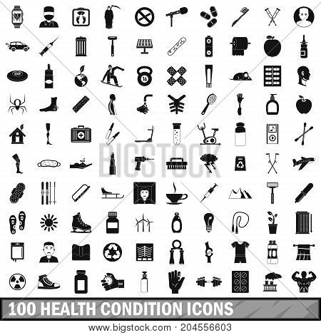 100 health condition icons set in simple style for any design vector illustration