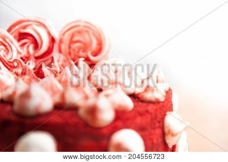 red velvet cake, decorated with white and red meringues, white background, close, velor, idea for a holiday, bakery products, the idea of dessert