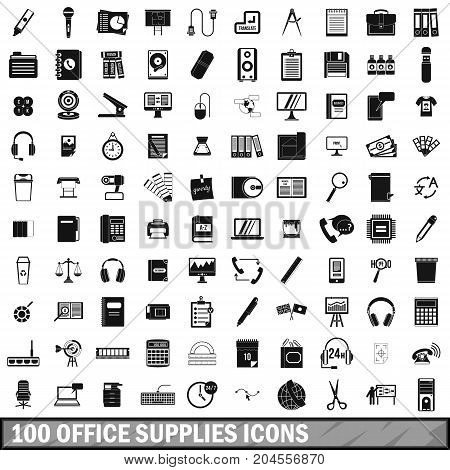 100 office supplies icons set in simple style for any design vector illustration
