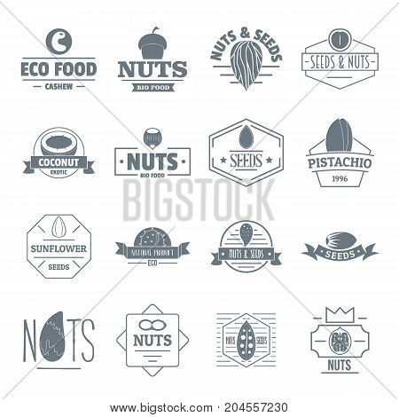 Nuts seeds logo icons set. Simple illustration of 16 nuts seeds logo vector icons for web