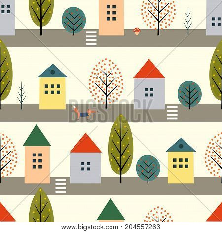 Cute houses, fox and autumn trees along the street seamless pattern on white background. Scandinavian style nature illustration. Autumn landscape with animal design for textile, wallpaper, fabric.