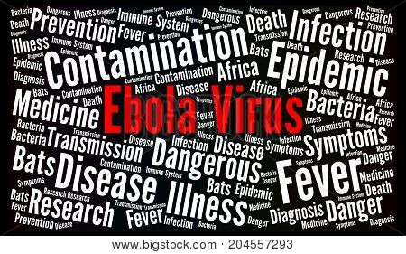 Ebola virus word cloud concept illustration with a black background
