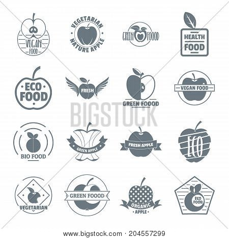 Apple logo icons set. Simple illustration of 16 apple logo vector icons for web
