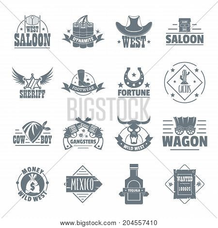Wild west logo icons set. Simple illustration of 16 wild west logo vector icons for web