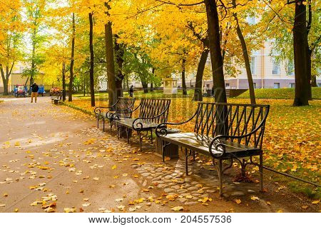 ST PETERSBURG RUSSIA-OCTOBER 3 2016. Michael garden in St Petersburg Russia in autumn day. St Petersburg Russia autumn city landscape. Colorful autumn city view